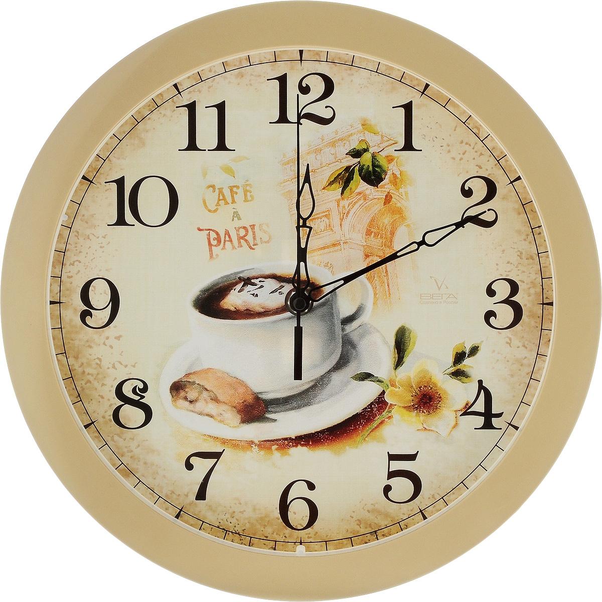 Часы настенные Вега Французский завтрак, диаметр 28,5 см54 009312Настенные кварцевые часы Вега Французский завтрак, изготовленные из пластика, прекрасно впишутся в интерьер вашего дома. Часы имеют три стрелки: часовую, минутную и секундную, циферблат защищен прозрачным стеклом. Часы работают от 1 батарейки типа АА напряжением 1,5 В (не входит в комплект).Диаметр часов: 28,5 см.