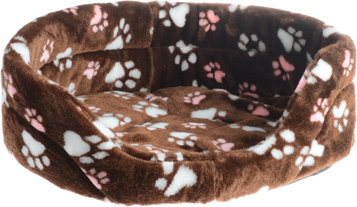 Лежак для животных Elite Valley, цвет: темно-коричневый, розовый, белый, 55 х 40 х 18,5 см. Л-2/40120710Лежак Elite Valley обязательно понравится вашему питомцу. Изделие выполнено из искусственного меха, а наполнитель - из поролона. Такой материал не теряет своей формы долгое время. Внутри имеется мягкая съемная подстилка.Высокие борта обеспечат вашему любимцу уют, ему сразу же захочется забраться на лежак, там он сможет отдохнуть и подремать в свое удовольствие. Мягкий лежак станет излюбленным местом вашего питомца, подарит ему спокойный и комфортный сон, а также убережет вашу мебель от многочисленной шерсти.