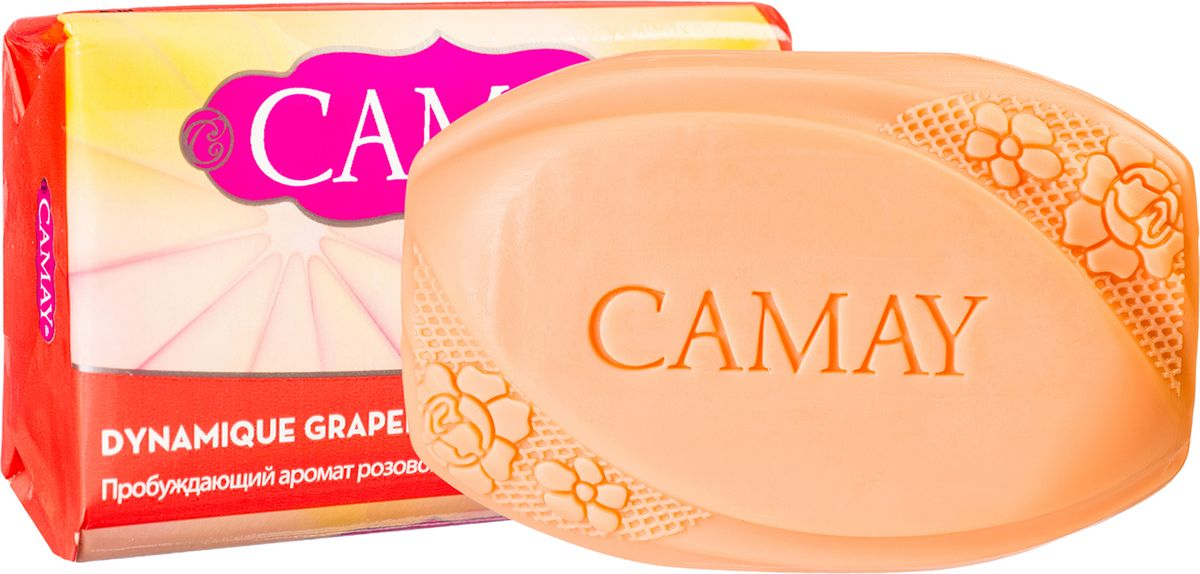 Camay Твердое мыло Grapefruit 85 грMFM-3101Туалетное мыло Camay Динамик - бодрящий аромат розового грейпфрута пробуждает эмоции и наполняет энергией и свежестью на весь день.