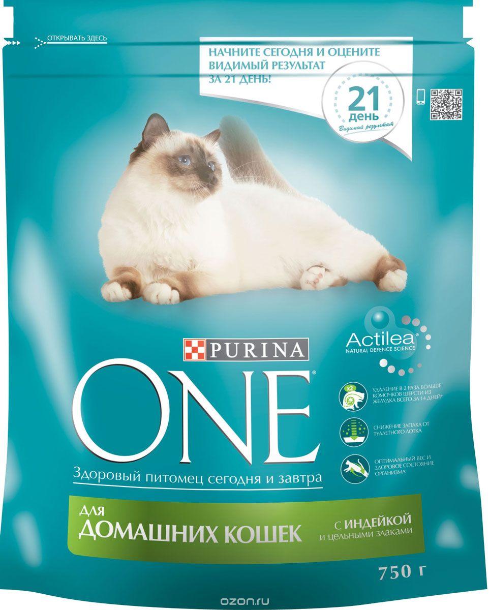 Корм сухой Purina One для домашних кошек, с индейкой и цельными злаками, 750 г