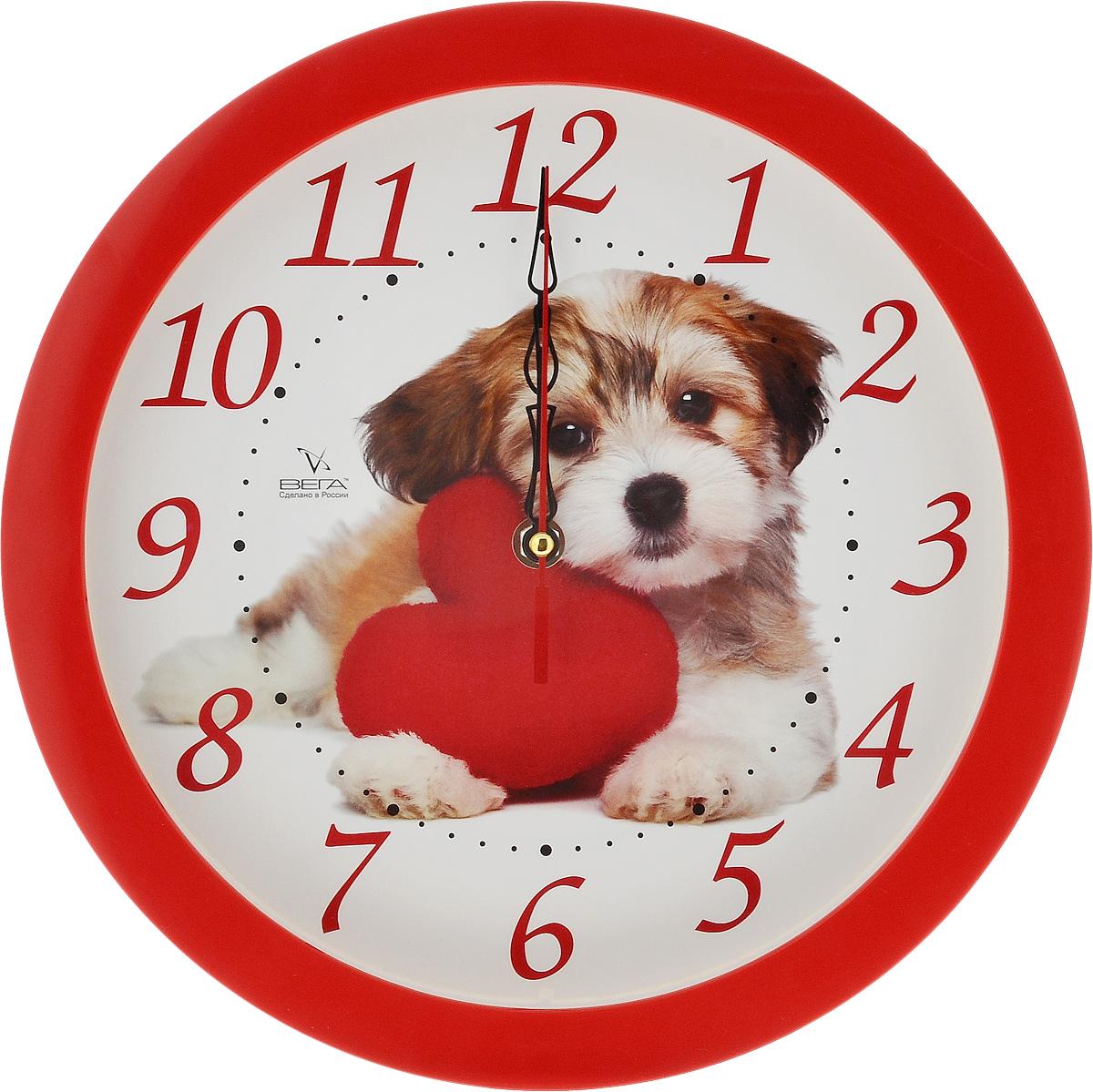 Часы настенные Вега Собака, диаметр 28,5 см300164_черный, кошкиНастенные кварцевые часы Вега Собака, изготовленные из пластика, прекрасно впишутся в интерьер вашего дома. Круглые часы имеют три стрелки: часовую, минутную и секундную, циферблат защищен прозрачным стеклом. Часы работают от 1 батарейки типа АА напряжением 1,5 В (не входит в комплект). Прилагается инструкция по эксплуатации. Диаметр часов: 28,5 см.