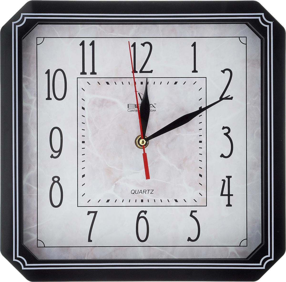 Часы настенные Вега Классика, 27,8 х 27,8 см. П4-61321П3-14-131Настенные кварцевые часы Вега Классика, изготовленные из пластика, прекрасно впишутся в интерьер вашего дома. Часы имеют три стрелки: часовую, минутную и секундную, циферблат защищен прозрачным стеклом. Часы работают от 1 батарейки типа АА напряжением 1,5 В (не входит в комплект).Прилагается инструкция по эксплуатации.