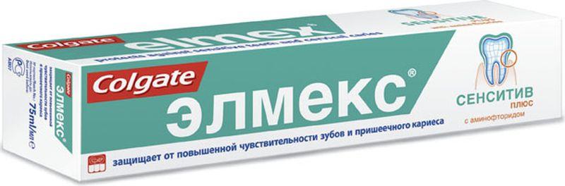 Elmex Зубная паста Сенситив Плюс 75мл04040531Зубная паста 75мл-1 шт Защищает от повышенной чувствительности зубов и кариеса дентинаасте для взрослых: 1400 ppm F-Эффективное снижение повышенной чувствительности зубов за счет обтурации открытых дентинных канальцев, глобулами фторида кальцияБережный уход за чувствительностью зубов за счет низкого уровня абразивности и минимальное истирание, твердых тканей зубаЗащита дентина и эмали от кариесаНе содержит консервантов, антисептиков и красителей