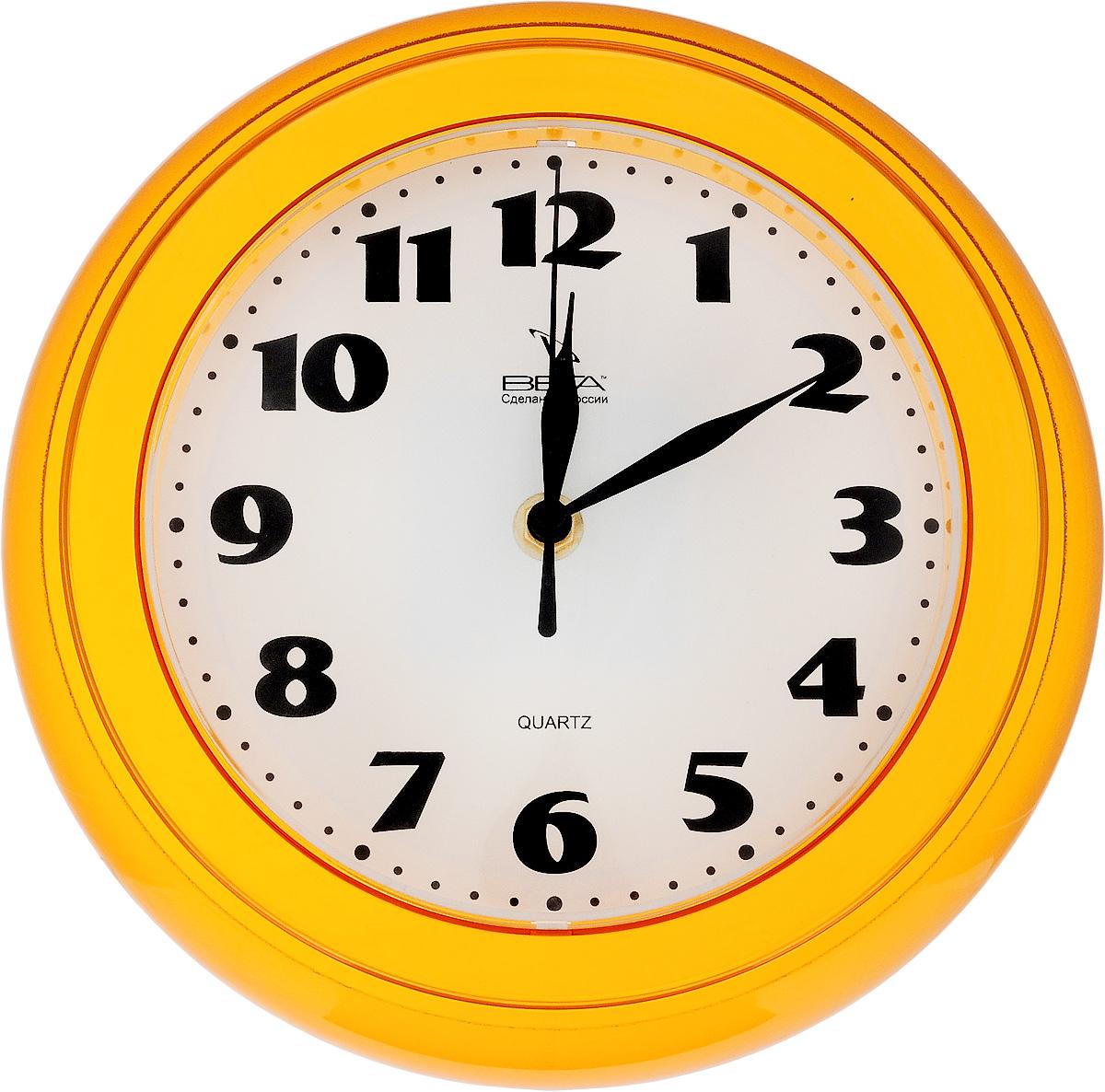 Часы настенные Вега Классика, цвет: желтый, диаметр 22 смП3-4-126Настенные кварцевые часы Вега Классика, изготовленные из пластика, прекрасно впишутся в интерьер вашего дома. Круглые часы имеют три стрелки: часовую, минутную и секундную, циферблат защищен прозрачным стеклом. Часы работают от 1 батарейки типа АА напряжением 1,5 В (не входит в комплект). Диаметр часов: 22 см.