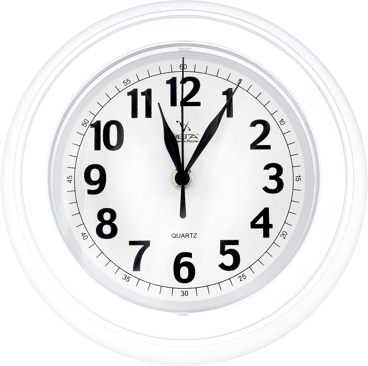 Часы настенные Вега Классика, цвет: белый, прозрачный, диаметр 22 см300250_Россия, коричневыйНастенные кварцевые часы Вега Классика, изготовленные из пластика, прекрасно впишутся в интерьер вашего дома. Круглые часы имеют три стрелки: часовую, минутную и секундную, циферблат защищен прозрачным стеклом. Часы работают от 1 батарейки типа АА напряжением 1,5 В (не входит в комплект). Диаметр часов: 22 см.