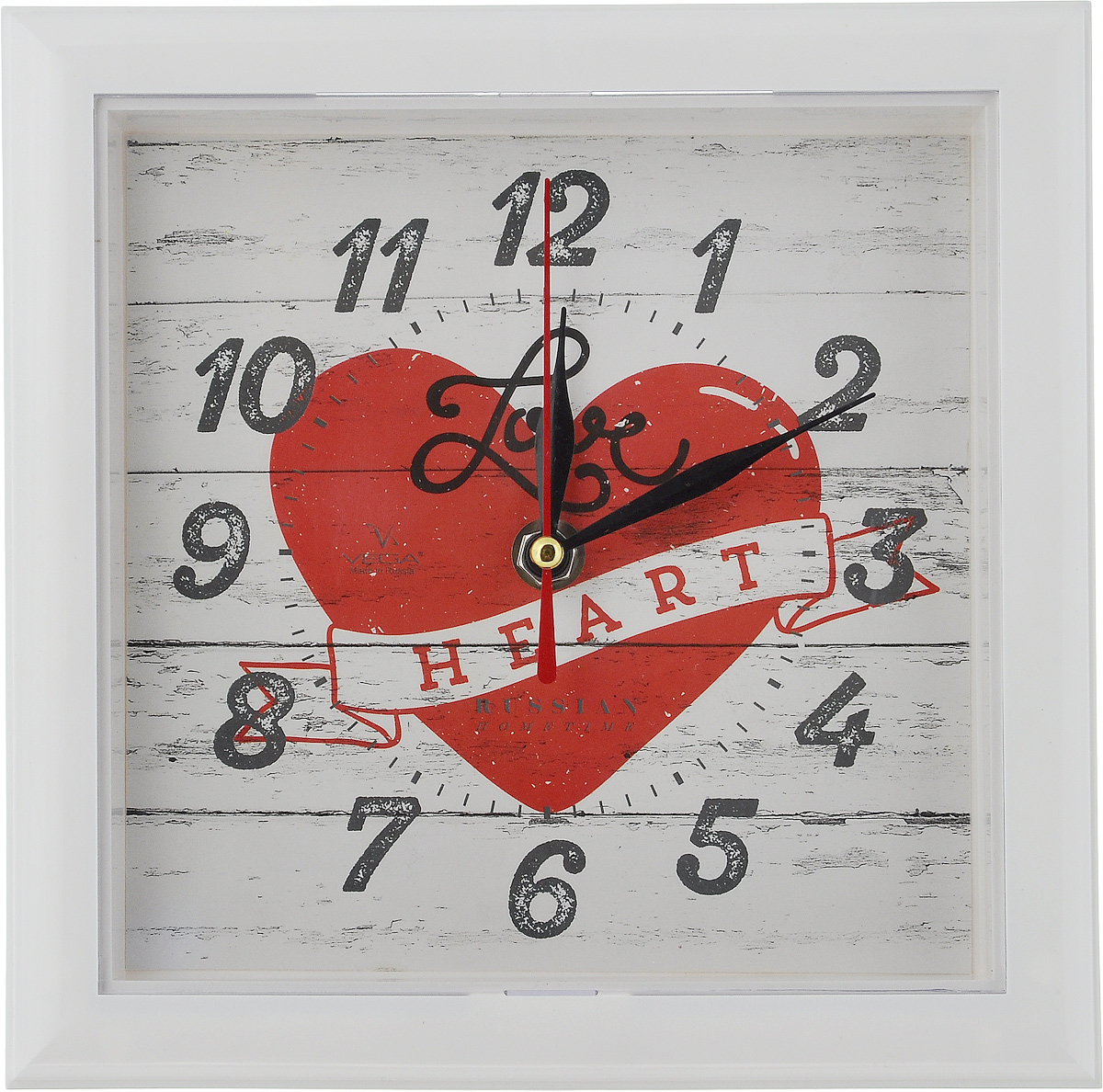 Часы настенные Вега Сердце, 20,6 х 20,6 х 3,5 см94672Настенные кварцевые часы Вега Сердце, изготовленные из пластика, прекрасно впишутся в интерьер вашего дома. Часы имеют три стрелки: часовую, минутную и секундную, циферблат защищен прозрачным стеклом. Часы работают от 1 батарейки типа АА напряжением 1,5 В (не входит в комплект).Размер часов: 20,6 х 20,6 х 3,5 см.