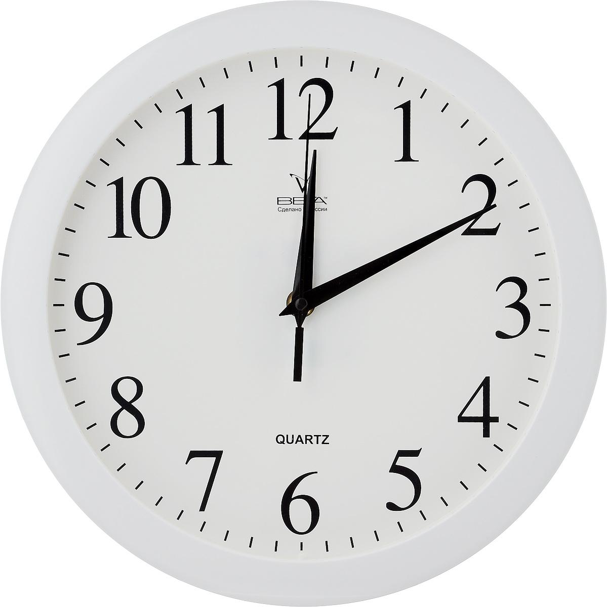 Часы настенные Вега Классика, цвет: белый, диаметр 28,5 см. П1-754 009305Настенные кварцевые часы Вега Классика, изготовленные из пластика, прекрасно впишутся в интерьер вашего дома. Круглые часы имеют три стрелки: часовую, минутную и секундную, циферблат защищен прозрачным стеклом. Часы работают от 1 батарейки типа АА напряжением 1,5 В (не входит в комплект). Диаметр часов: 28,5 см.