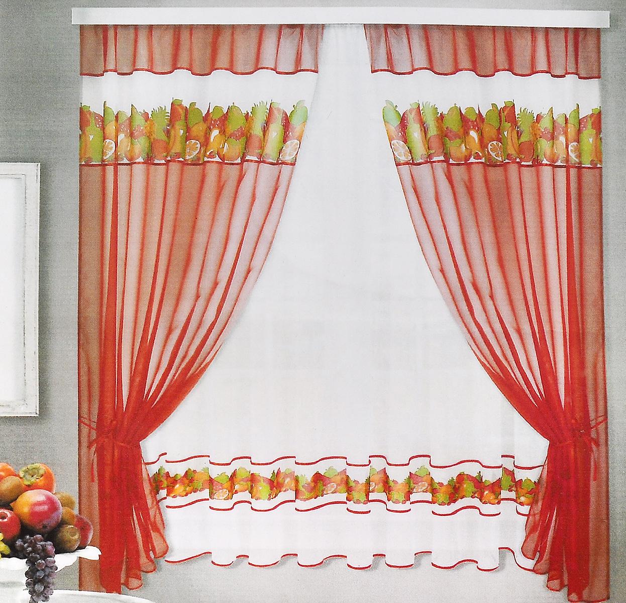 Комплект штор для кухни ТД Текстиль Фруктовая поляна, на ленте, цвет: оранжевый, белый, 5 предметов77646Комплект штор для кухни ТД Текстиль Фруктовая поляна, выполненный из вуалевого полотна (100% полиэстер), великолепно украсит любое окно. Комплект состоит из тюля, двух штор и двух подхватов. Оригинальный дизайн и яркая цветовая гамма привлекут к себе внимание и органично впишутся в интерьер помещения.Комплект крепится на карниз при помощи ленты, которая поможет красиво и равномерно задрапировать верх. Комплект будет долгое время радовать вас и вашу семью!