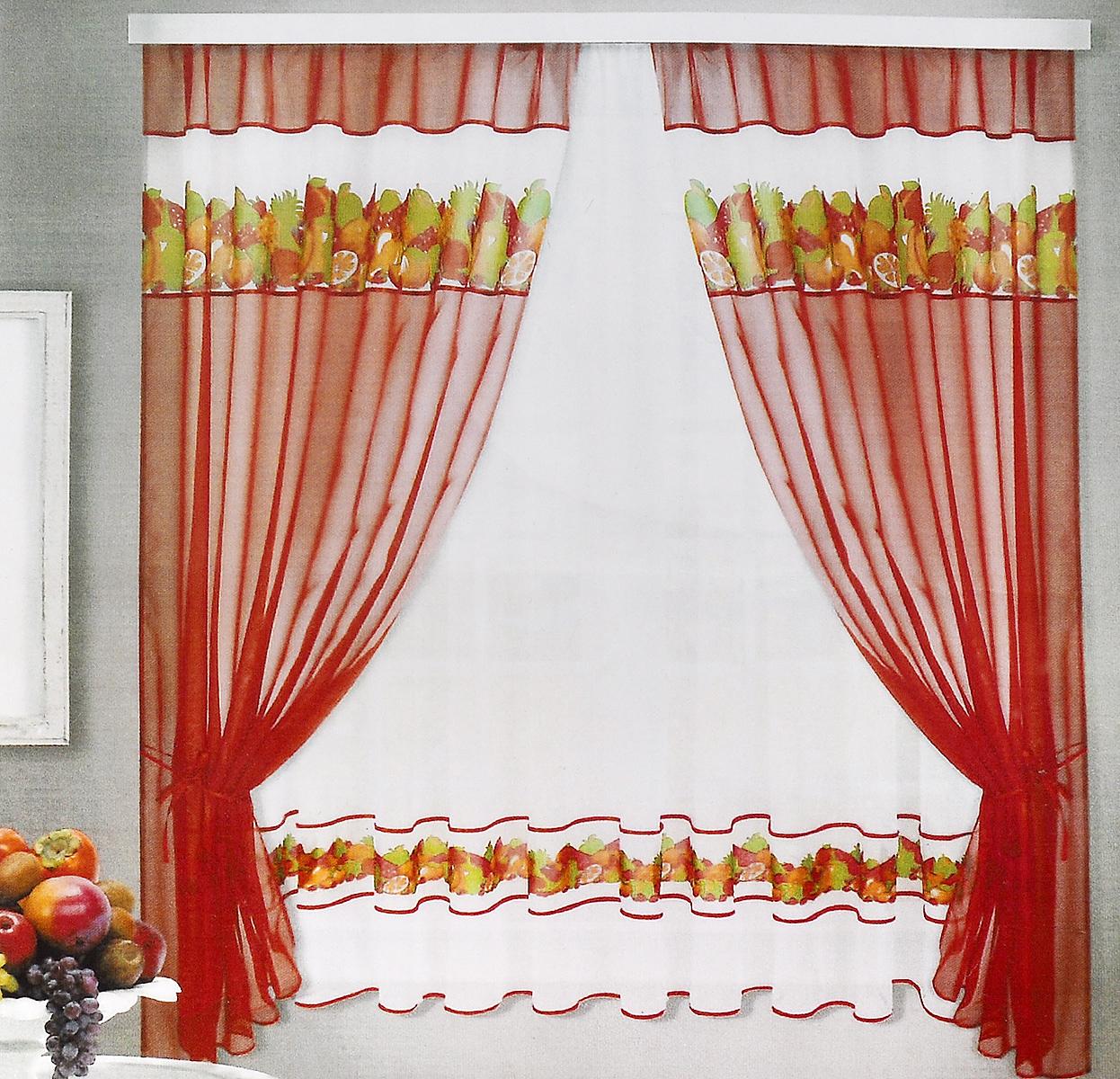 Комплект штор для кухни ТД Текстиль Фруктовая поляна, на ленте, цвет: бордовый, белый, 5 предметов81247Комплект штор для кухни ТД Текстиль Фруктовая поляна, выполненный из вуалевого полотна (100% полиэстер), великолепно украсит любое окно. Комплект состоит из тюля, двух штор и двух подхватов. Оригинальный дизайн и яркая цветовая гамма привлекут к себе внимание и органично впишутся в интерьер помещения.Комплект крепится на карниз при помощи ленты, которая поможет красиво и равномерно задрапировать верх. Комплект будет долгое время радовать вас и вашу семью!