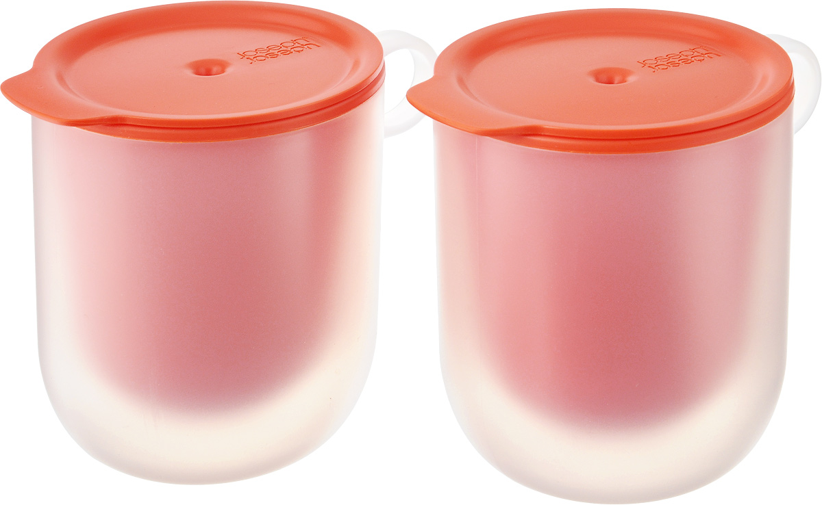 Набор кружек для микроволновой печи Joseph Joseph M-Cuisine, с крышками, с двойными стенками, цвет: оранжевый, 360 мл, 4 предмета54 009312Набор Joseph Joseph M-Cuisine состоит из двух кружек с крышками, которые идеально подходят для разогрева напитков, жидких блюд, а также для приготовления десертов в микроволновой печи. Благодаря двойным стенкам внешняя поверхность всегда остается прохладной, что позволяет спокойно доставать разогретую кружку из печи голыми руками. Крышка с отверстием для выхода пара защищает содержимое от протекания и помогает сохранить чистоту. А стильный дизайн позволяет подавать разогретые блюда прямо к столу. Предметы предназначены для использования в микроволновой печи. Можно мыть в посудомоечной машине. Диаметр кружек (по верхнему краю): 8,5 см.Высота кружек (с учетом крышки): 11,5 см.