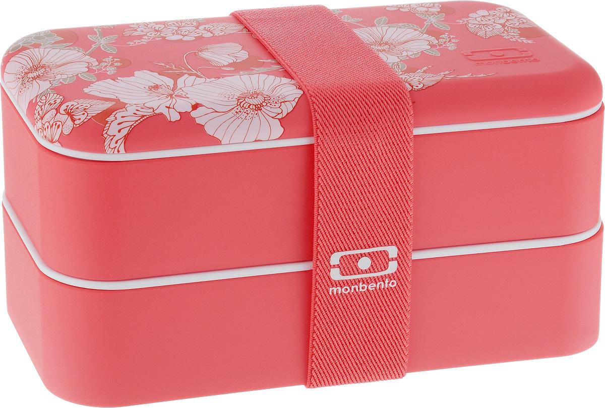 Ланч-бокс Monbento Original Graphic Floral, 1 л21395599Ланчбокс Monbento Original Graphic Floral изготовлен из высококачественного пищевого пластика с приятным на ощупь прорезиненным покрытием soft-touch. Предназначен для хранения и переноски пищевых продуктов. Ланчбокс представляет собой два прямоугольных контейнера, в которых удобно хранить различные блюда. В комплекте также предусмотрена емкость для соуса, которая удобно помещается в одном из контейнеров. Контейнеры вакуумные, что позволяет продуктам дольше оставаться свежими и вкусными. Боксы дополнительно фиксируются друг над другом эластичным ремешком. Компактные размеры позволят хранить ланчбокс в любой сумке. Его удобно взять с собой на работу, отдых, в поездку. Теперь любимая домашняя еда всегда будет под рукой, а яркий дизайн поднимет настроение и подарит заряд позитива. Можно использовать в микроволновой печи и для хранения пищи в холодильнике, можно мыть в посудомоечной машине. В крышке каждого контейнера - специальная пробка, которую надо вытащить, если вы разогреваете еду. Объем одного контейнера: 0,5 л. Общий размер ланчбокса: 18,5 х 9,4 х 10,5 см. Размер одного контейнера: 18,5 х 9,4 х 4,5 см. Размер емкости для соуса: 8,7 х 4,5 х 3,2 см.Объем емкости для соуса: 100 мл.