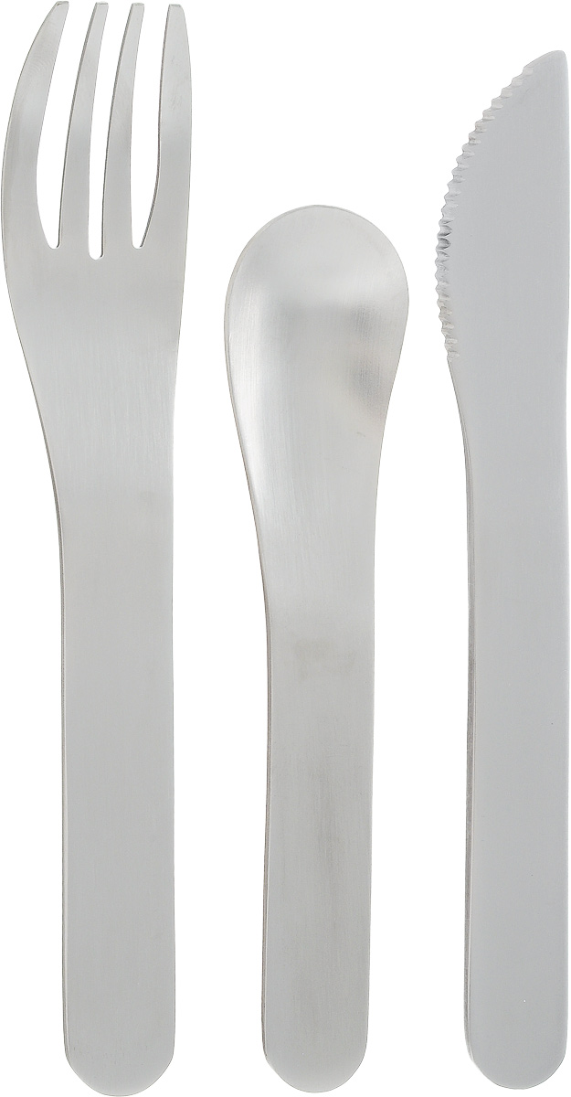 """Набор столовых приборов Monbento """"Pocket"""", в футляре, цвет: серый, стальной, 4 предмета"""