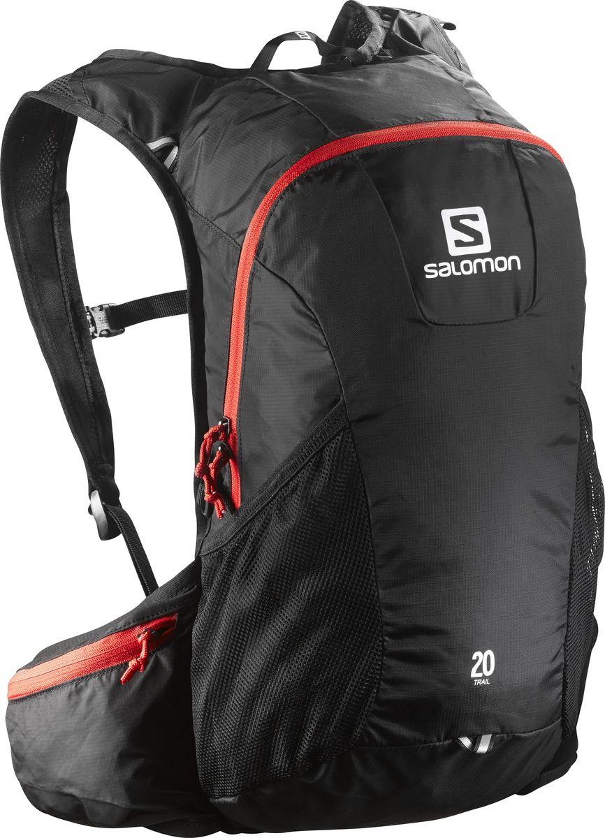 Рюкзак спортивный Salomon Trail 20, цвет: черный, 20 л. L37998100Z90 blackРюкзак Salomon Trail 20 выполнен из высококачественного полиамида и полиэстера. Рюкзак имеет одно вместительное отделение и закрывается на застежку-молнию. Рюкзак оснащен мягкими удобными лямками, длина которых регулируется с помощью пряжек. Изделие дополнено удобной ручкой для переноски или подвешивания. На внешней стороне расположены два открытых кармана-сетки. Полюбившийся бегунам рюкзак Trail 20 получил новый обтекаемый силуэт. Сбалансированное распределение нагрузки, простота в использовании, быстрый доступ в основное отделение, удобные набедренные карманы. Идеально подходит для забегов на средние дистанции и однодневных походов по любым маршрутам.