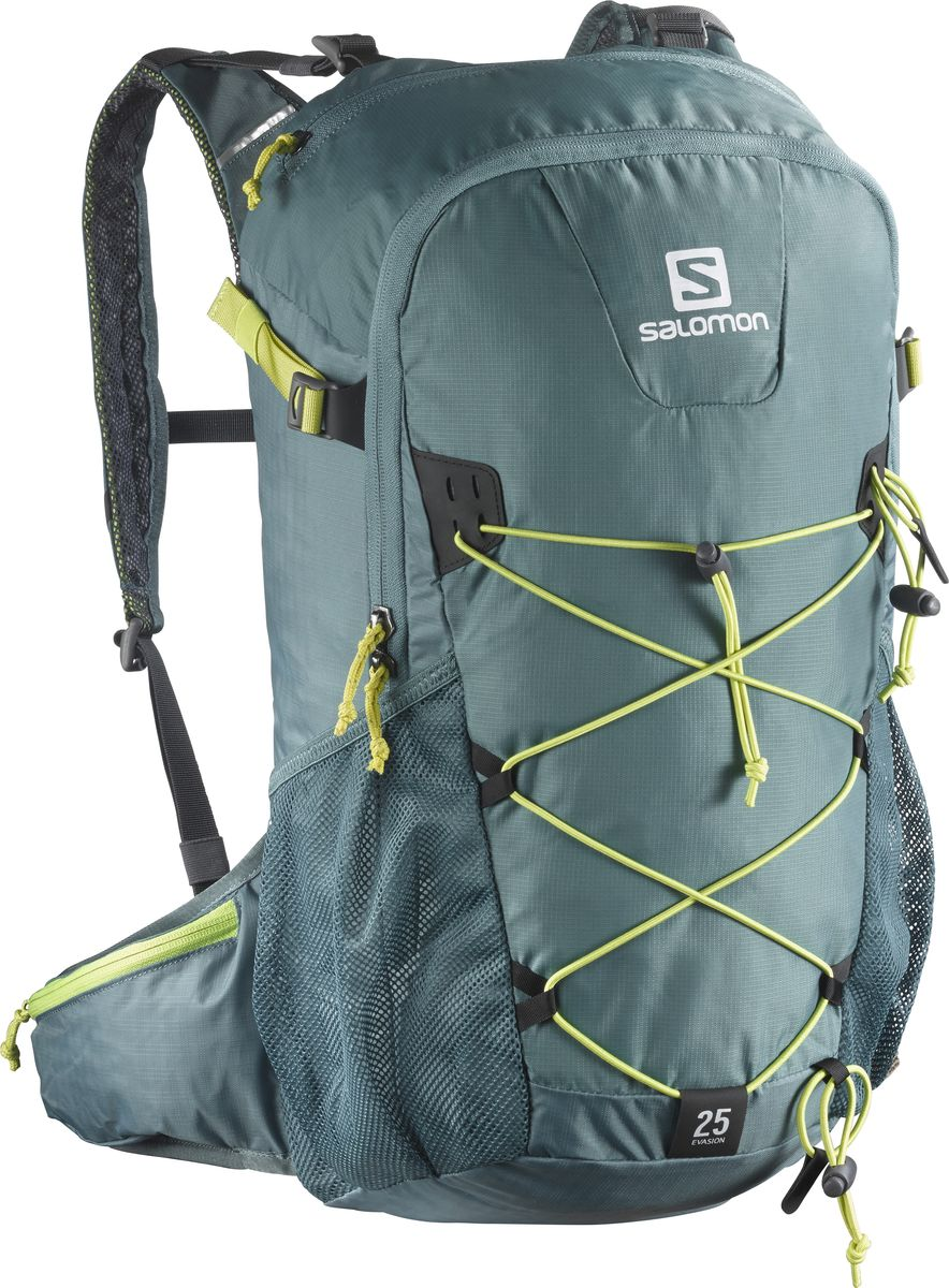 Рюкзак спортивный Salomon Evasion 25, цвет: зеленый, 25 л. L3931950095936-911Рюкзак Salomon Evasion 25 выполнен из высококачественного полиамида и полиэстера. Рюкзак имеет одно вместительное отделение и закрывается на застежку-молнию. Рюкзак оснащен мягкими удобными лямками, длина которых регулируется с помощью пряжек. На внешней стороне расположены два открытых кармана-сетки. Устойчивый и комфортный рюкзак Evasion 25 имеет фиксаторы для палок и другого снаряжения, необходимого во время однодневного похода.