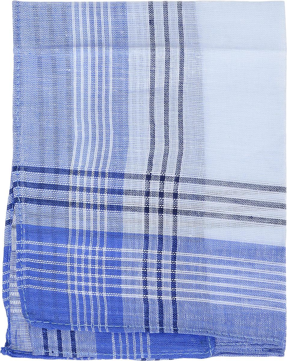 Платок носовой мужской Zlata Korunka, цвет: голубой, белый. 45449. Размер 34 х 32 смАжурная брошьМужской носовой платой Zlata Korunka изготовлен из натурального хлопка, приятен в использовании, хорошо стирается, материал не садится и отлично впитывает влагу. Оформлена модель принтом в полоску.