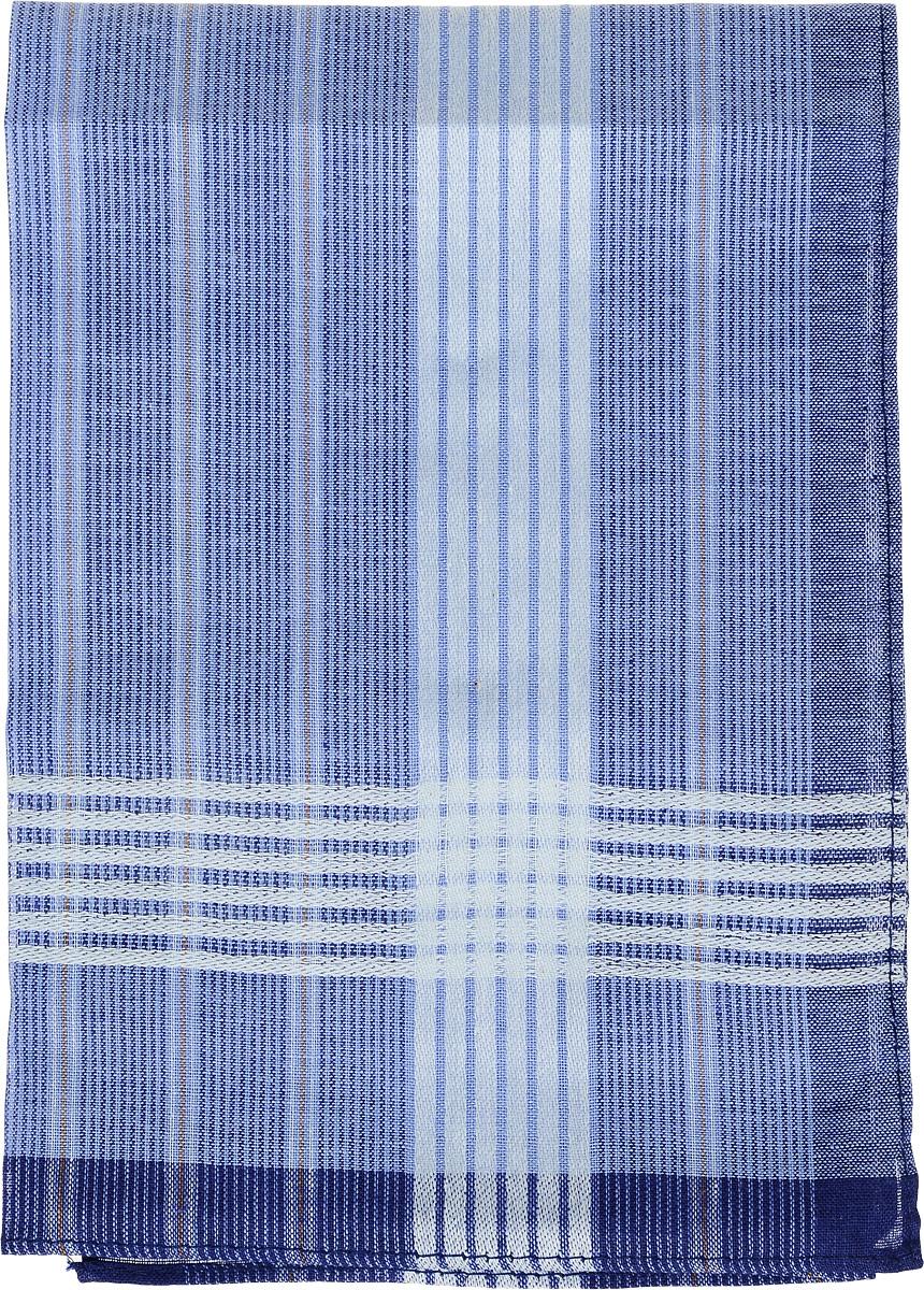 Платок носовой мужской Zlata Korunka, цвет: голубой, синий. 45495. Размер 38 х 38 смСерьги с подвескамиМужской носовой платок Zlata Korunka, изготовленный из натурального хлопка, приятен в использовании и отлично впитывает влагу. Материал не садится и хорошо стирается. Модель оформлена принтом в полоску.