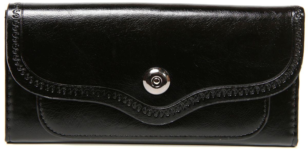 Кошелек женский Mitya Veselkov, цвет: черный. K-BLA9INT-06501Женский кошелек от модного бренда Mitya Veselkov изготовлен из натуральной кожи. Купюры вмещаются в полную длину. Закрывается кошелек при помощи клапана на кнопку. Внутри расположено три отделения для купюр, кармашки для пластиковых карт и визиток, одно отделение для мелочи.Такой кошелек стильно дополнит ваш образ и станет незаменимым аксессуаром.