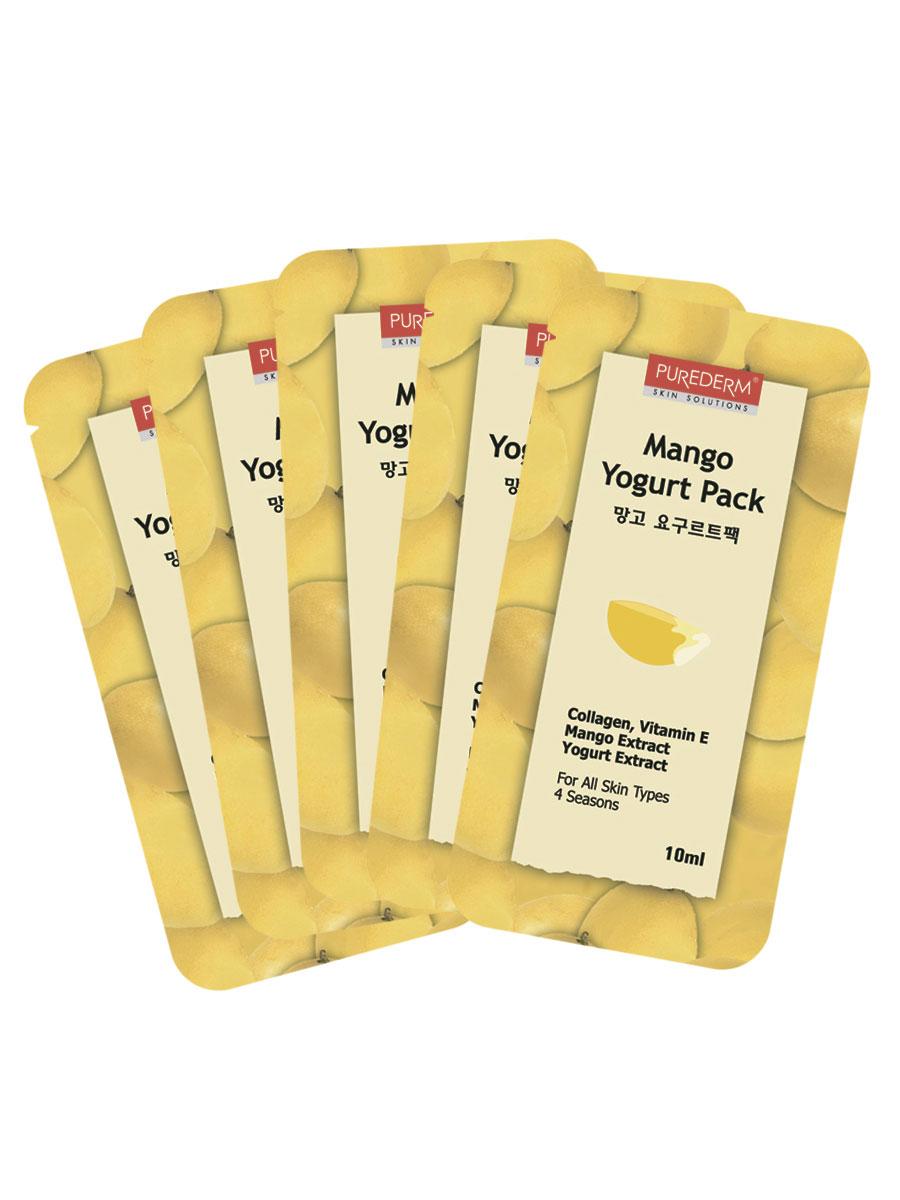 Йогуртовая маска Purederm. Манго, 10 мл x 5 тканевые маски и патчи purederm маска йогуртовая клубника 10 мл набор из 5 шт