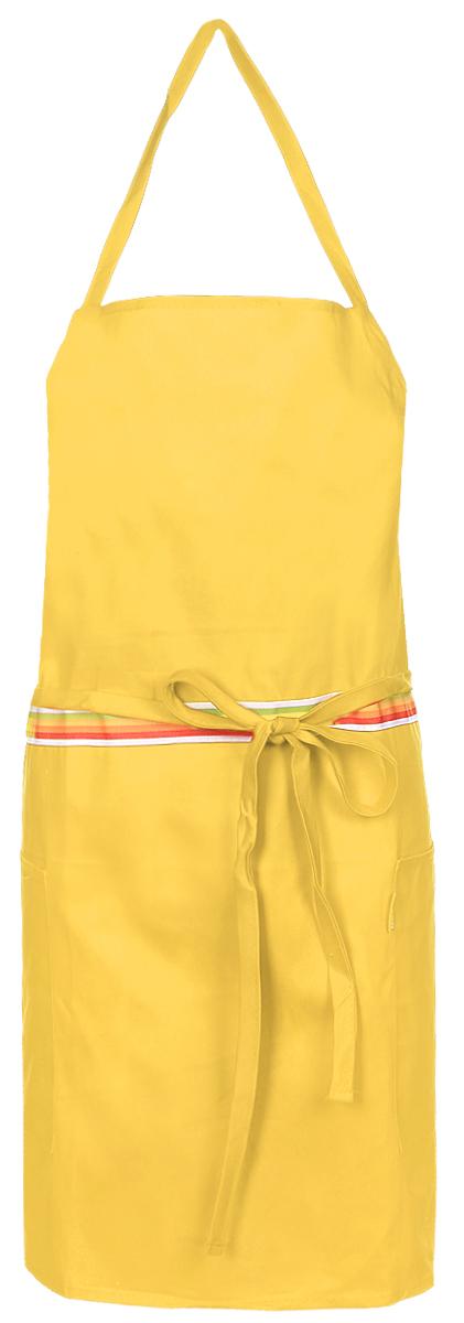 Фартук кухонный Tescoma Presto Tone, цвет: желтый. 639762VT-1520(SR)Кухонный фартук Presto Tone изготовлен из 100% хлопка. Регулируемый шейный ремешок поможет подогнать фартук по росту. Удлиненный пояс можно завязать сзади или обернуть вокруг талии. Фартук имеет два накладных кармана для различных кухонных аксессуаров, а также съемный карман, куда можно положить телефон или другие мелкие предметы.Размер фартука: 73 х 67 см.