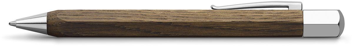 Faber-Castell Ручка шариковая Ondoro Smoaked Oak BFS-00103Шариковая ручка высшего качества корпус изготовлен из дымчатого дуба оба конца из хромированного шлифованного металла упругий клип поворотный механизм twistобъемный черный стержень Миндивидуальная подарочная упаковка
