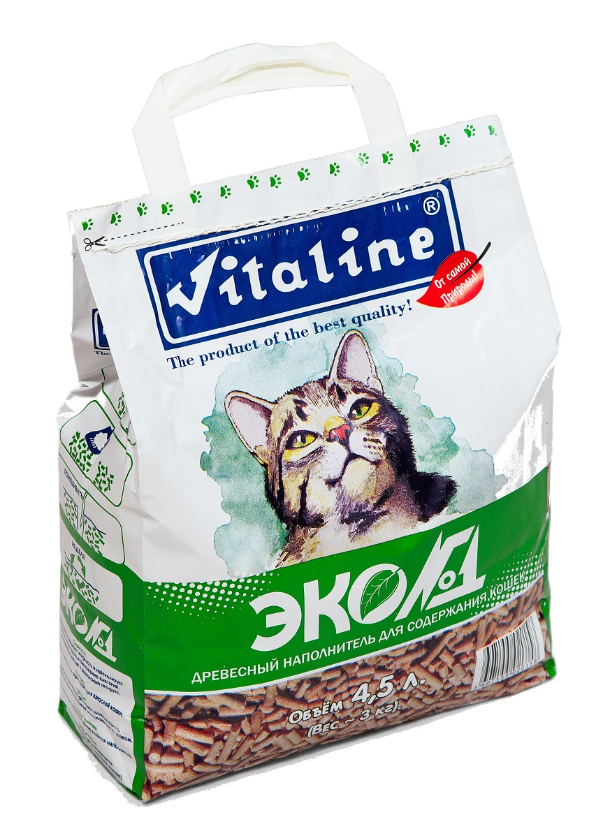 Наполнитель для кошачьих туалетов Vitaline Эко№1, древесный, 3 кг0120710Наполнитель для кошачьих туалетов Vitaline Эко№1 - универсальное средство для ухода за кошками, грызунами, рептилиями и даже птицами. Наполнитель созданный из массива хвойных пород древесины . 100% биологически разлагаем, не причиняет никакого вреда природе и совершенно безопасен для окружающей среды. Наполнитель Vitaline Эко№1 нейтрализует неприятные запахи в период между посещениями лотка, сохраняя свежесть кошачьего туалета. Условия хранения:Гигиенический сертификат на упаковочный материал: Хранение при температуре 20C и относительной влажности не более 80%. Срок годности: не менее 5 лет.