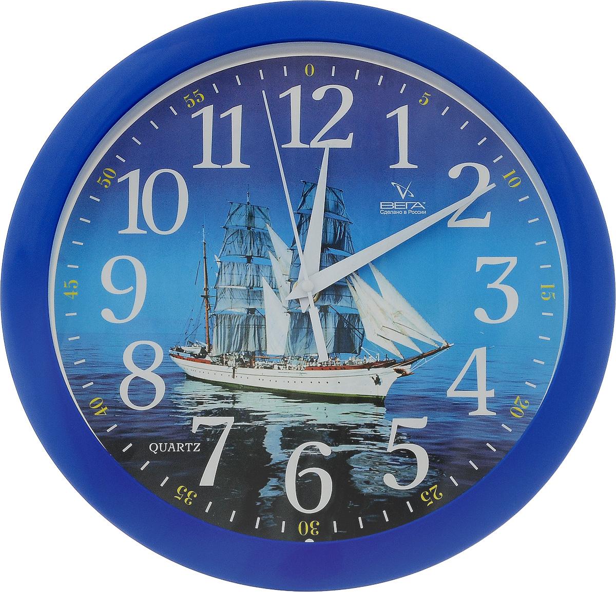 Часы настенные Вега Корабль, диаметр 28,5 см22432Настенные кварцевые часы Вега Корабль, изготовленные из пластика, прекрасно впишутся в интерьер вашего дома. Циферблат, оформленных изображением корабля, имеет отметки, арабские цифры и три стрелки - часовую, минутную и секундную. Защищен циферблат прозрачным пластиком. Часы работают от 1 батарейки типа АА с напряжением 1,5 В (не входит в комплект).Диаметр часов: 28,5 см.