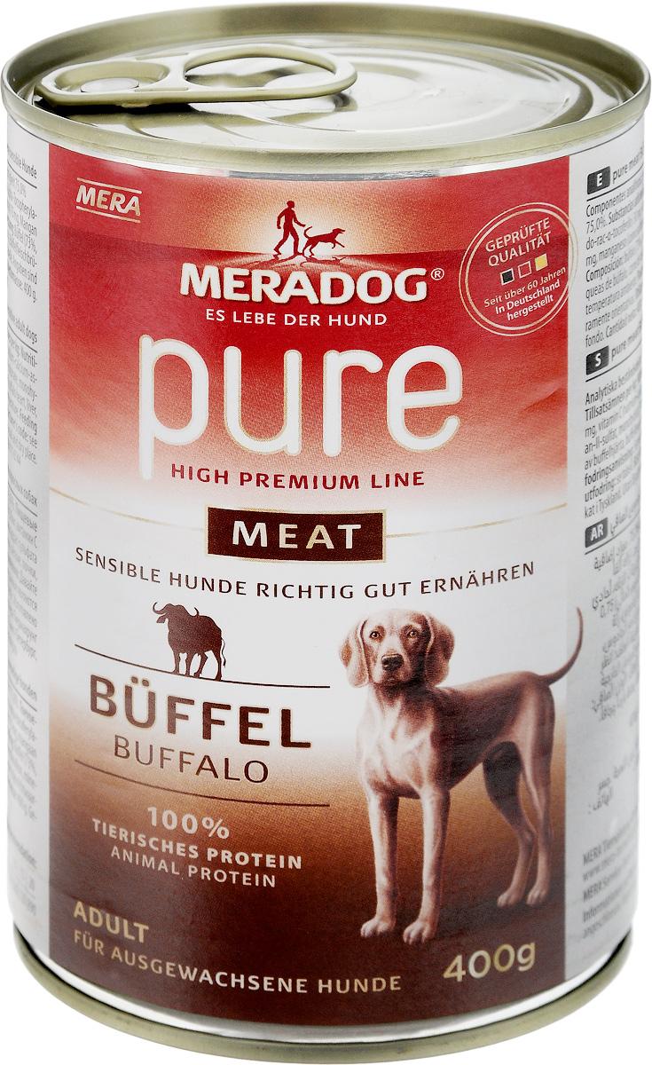 Консервы для собак Meradog Pure Meat, с буйволом, 400 г0120710Миллионы собак по всему миру благодарят своих хозяев за любовь, заботу и Meradog.Аппетитное мясное или рыбное филе с отборным рисом, кукурузой или картофелем, ароматные морепродукты, приготовленные особым способом в сочетании с натуральными овощами - в этот вкус невозможно не влюбиться.Ведущий ветеринарный врач завода Mera - доктор Стефан Мандель смог разработать идеальную формулу здоровья для вашего члена семьи - Meradog.Всем известно, что немецкие корма обладают не только безупречным качеством, но и идеальным вкусом. А все это благодаря:- высокому проценту мяса,- комплексу необходимых витаминов,- колоструму, обеспечивающего иммунную защиту,- оптимальному полнорационному составу.Сделайте счастливым вашего питомца, просто - подарите ему Meradog.Состав: буйвол (73%, состоит из буйволиного сердца, печени, легких, почек, трахеи и мяса), бульон из мяса буйвола, минеральные вещества.Влажный корм для взрослых собак (подходит для собак с проблемами в питании и/или аллергиями).Товар сертифицирован.