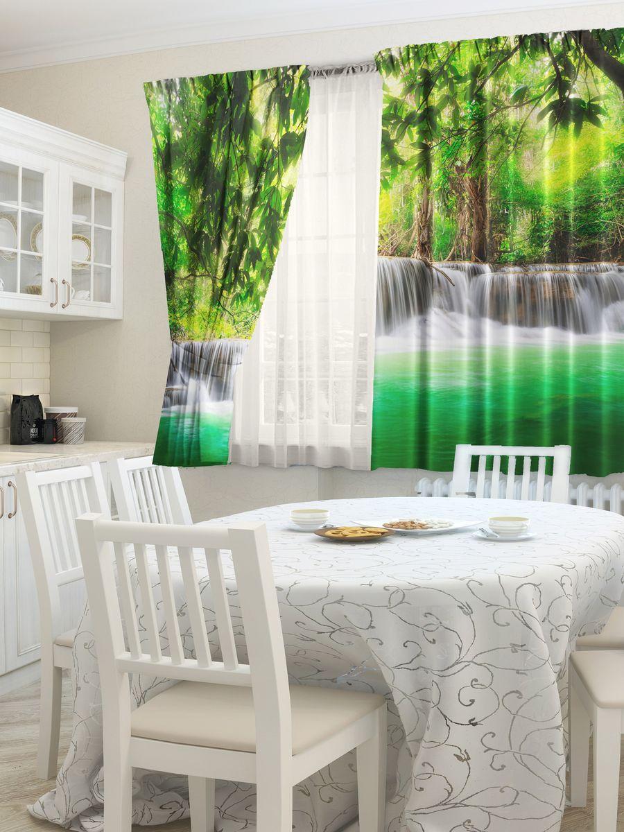 Комплект фотоштор для кухни Zlata Korunka Каскад, на ленте, высота 160 смZ-0307Комплект штор для кухни Zlata Korunka, выполненный из полиэстера, великолепно украсит любое окно. Комплект состоит из 2 штор. Яркий рисунок и приятная цветовая гамма привлекут к себе внимание и органично впишутся в интерьер помещения. Этот комплект будет долгое время радовать вас и вашу семью!Комплект крепится на карниз при помощи ленты, которая поможет красиво и равномерно задрапировать верх.