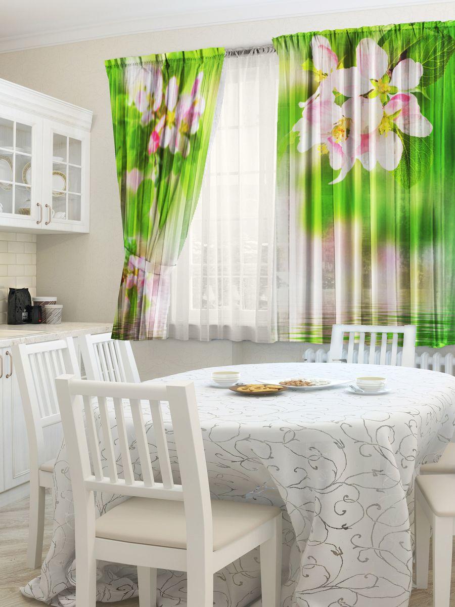 Комплект фотоштор для кухни Zlata Korunka Яблоня, на ленте, высота 160 смVCA-00Комплект штор для кухни Zlata Korunka, выполненный из полиэстера, великолепно украсит любое окно. Комплект состоит из 2 штор. Яркий рисунок и приятная цветовая гамма привлекут к себе внимание и органично впишутся в интерьер помещения. Этот комплект будет долгое время радовать вас и вашу семью!Комплект крепится на карниз при помощи ленты, которая поможет красиво и равномерно задрапировать верх.