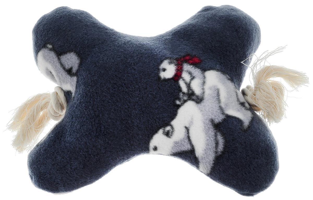Игрушка для собак Zoobaloo Кость на канате, цвет: серый, белый, красный, длина 25 см игрушка для собак zoobaloo гантель с пищалкой длина 13 см