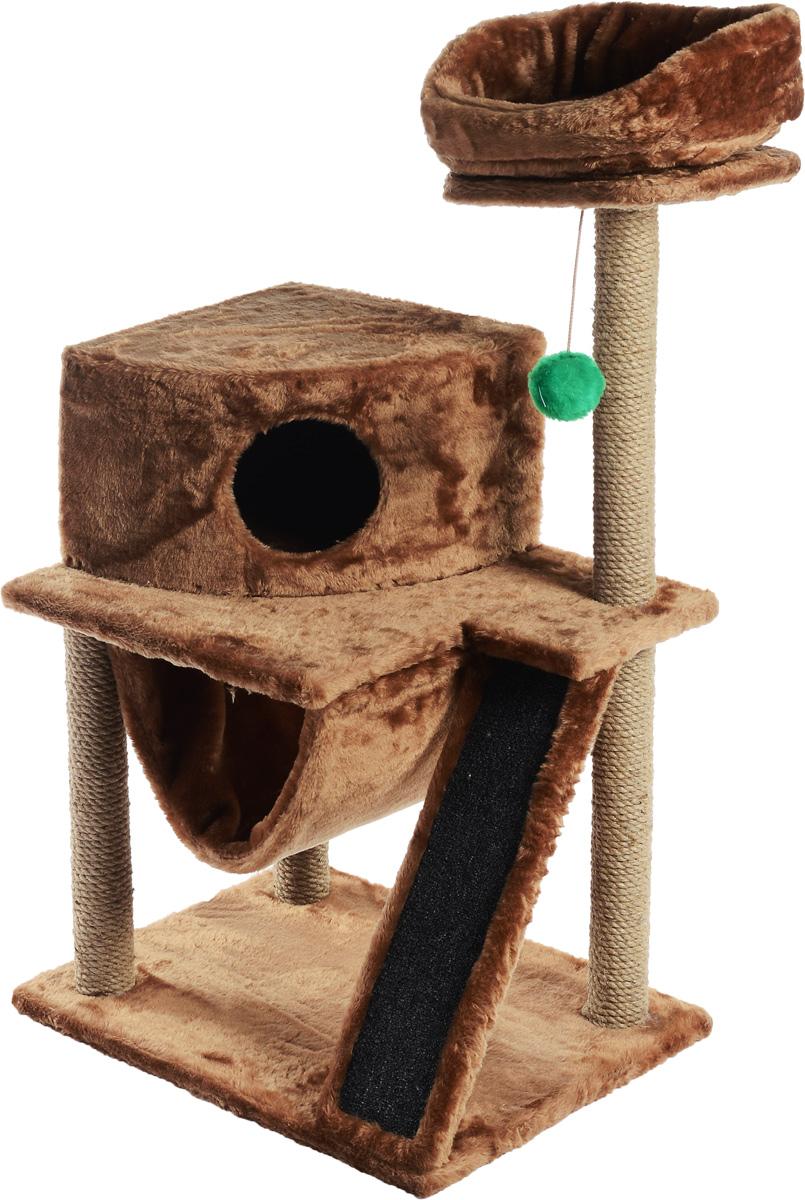 Игровой комплекс для кошек ЗооМарк Мурка, цвет:светло-коричневый, бежевый, 60 х 45 х 120 см12171996Игровой комплекс для кошек ЗооМарк Мурка выполнен из высококачественного дерева и обтянут искусственным мехом. Изделие предназначено для кошек. Комплекс имеет 3 яруса. Ваш домашний питомец будет с удовольствием точить когти о специальные столбики, изготовленные из джута. Также точить когти поможет площадка, оснащенная вставкой из ковролина. А отдохнуть он сможет либо на полках, либо домике или гамаке. На одной из полок расположена игрушка, которая еще сильнее привлечет внимание питомца.Общий размер: 60 х 45 х 120 см.Размер домика: 37 х 37 х 25 см.Диаметр верхней полки: 30 см.Уважаемые покупатели!Обращаем ваше внимание на тот факт, что размеры могут незначительно отличаться в пределах 3-4 см в высоту и ширину.