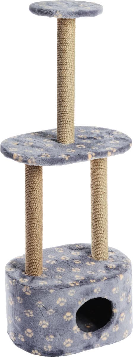 Игровой комплекс для кошек Меридиан, 3-ярусный, с домиком и когтеточкой, цвет: серо-синий, бежевый, 51 х 33 х 131 см0120710Игровой комплекс для кошек Меридиан выполнен из высококачественного ДВП и ДСП и обтянут искусственным мехом. Изделие предназначено для кошек. Комплекс имеет 3 яруса. Ваш домашний питомец будет с удовольствием точить когти о специальные столбики, изготовленные из джута. А отдохнуть он сможет либо на полках, либо в расположенном внизу домике.Общий размер: 51 х 33 х 131 см.Размер домика: 51 х 33 х 28 см.Размер большой полки: 51 х 33 см.Диаметр малой полки: 25 см.