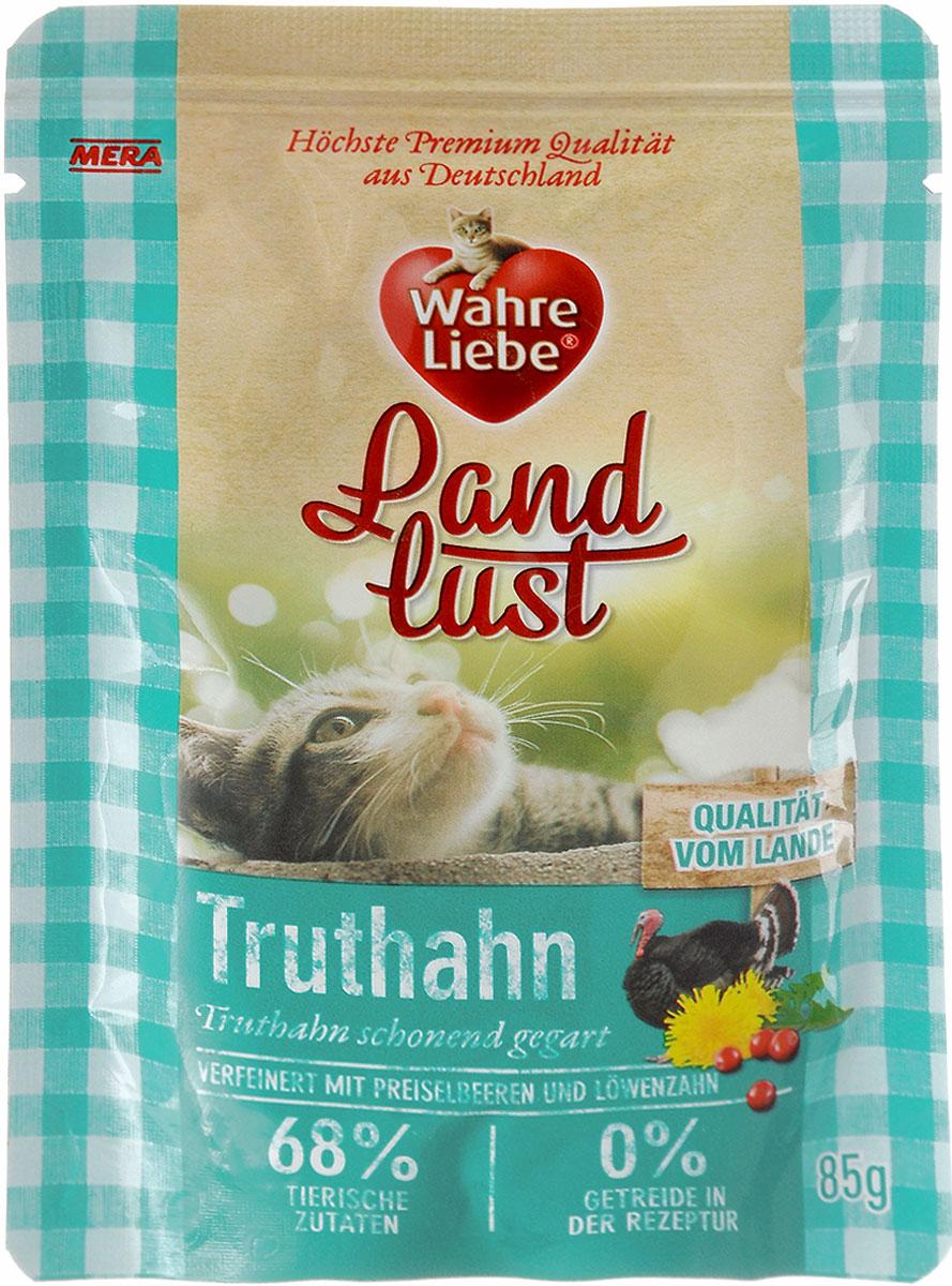 Консервы для кошек Wahre Liebe Nassfutter, с индейкой в желе с клюквой и одуванчиком, 85 г33001Консервы для кошек Wahre Liebe Nassfutter - сбалансированный влажный корм для кошек склонных к аллергии, в период диеты а также с чувствительным пищеварением. Корм изготовлен только из свежих натуральных ингредиентов. Подходит для самых привередливых кошек. Содержание свежего мяса в каждом пакетике - не менее 68%!Состав: индейка (68%, содержит сердце индейки, мясо индейки, печень и шеи индейки), бульон из индейки, клюква 2%, минеральные вещества, одуванчик 0,1%, льняное масло.Товар сертифицирован.