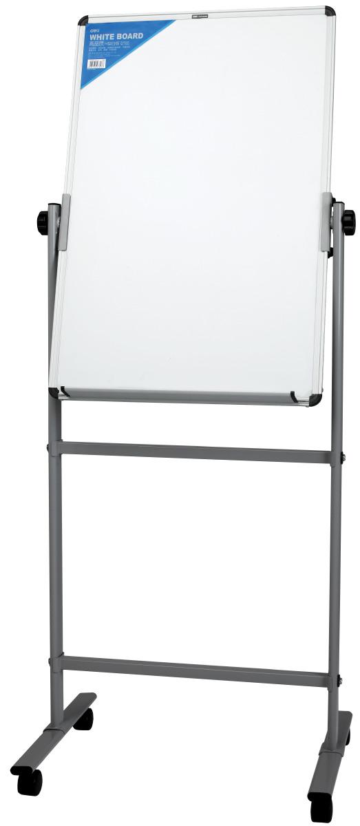 Deli Флипчарт на роликах 60 см х 90 смFS-00897Мобильный двухсторонний флипчарт с магнитной поверхностью. Регулируется по высоте, снабжен алюминиевой рамой и лотком для маркера. Стенд на колесиках.