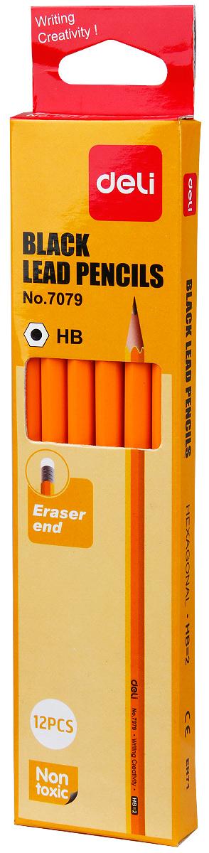 Deli Набор чернографитных карандашей с ластиком цвет желтый 12 шт