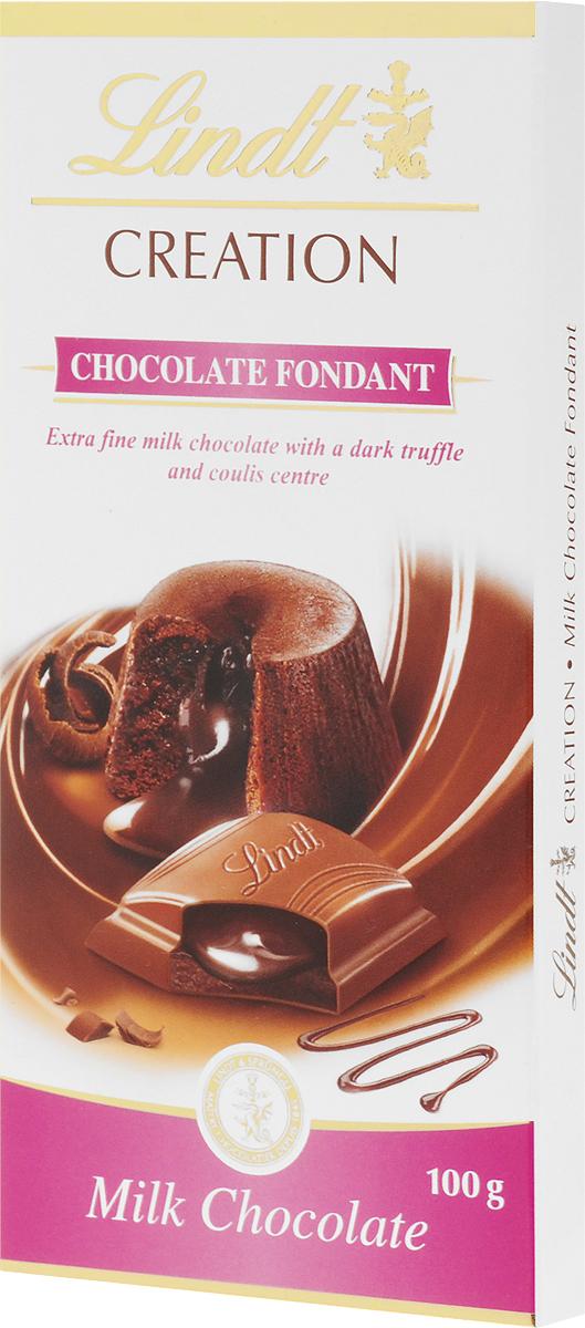 Lindt Creation Шоколад Фондан молочный шоколад c начинкой, 100 г0120710Популярный французский десерт Шоколад Фондан теперь воплощен в плитке шоколада Lindt creation! Мэтры Шоколатье создали признанный во всем мире десерт, соединив его с превосходным молочным шоколадом Lindt.Уважаемые клиенты! Обращаем ваше внимание, что полный перечень состава продукта представлен на дополнительном изображении.