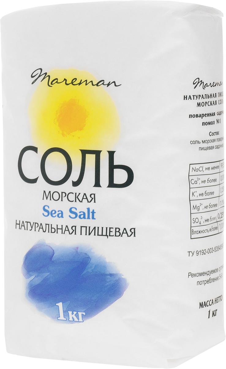 Mareman соль морская пищевая средняя помол №1, 1 кгнба020Натуральная морская соль Mareman - хороший источник основных природных минералов, натуральный продукт, оказывающий оздоровительное воздействие на организм человека при регулярном использовании в пищу.Морская соль Mareman производится только в виде универсального среднего помола (помол №1). Такой помол рекомендован к использованию во всех видах готовки пищи, а также для консервации, засолки овощей, рыбы и тому подобному. Натуральная морская соль Mareman создана с учетом тенденций современного рынка в качестве здоровой альтернативы обычной каменной столовой соли. Рекомендуемое суточное потребление 5-6 г.