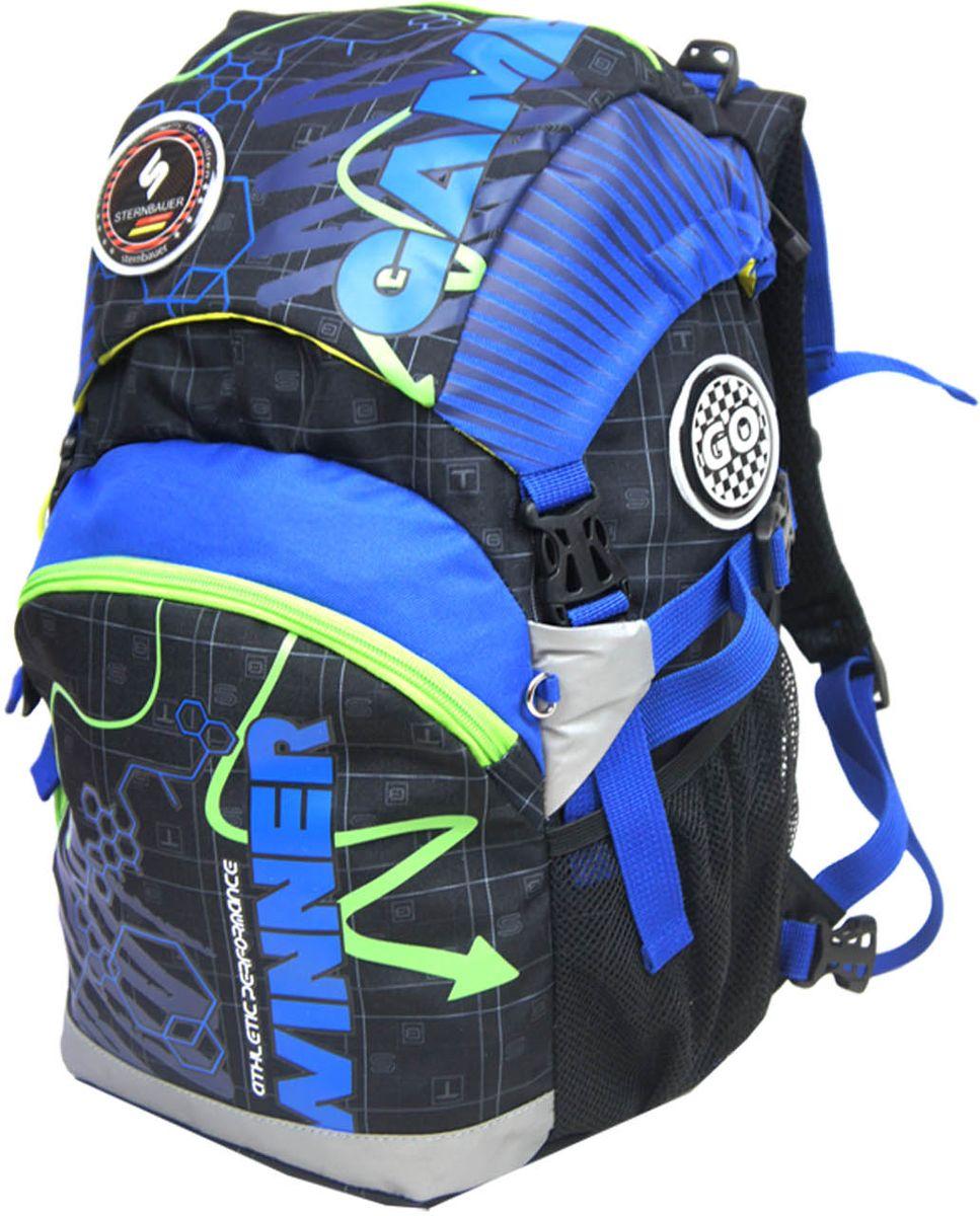 Sternbauer Рюкзак школьный SB цвет синий11408283Новая серия рюкзаков с кулискойКомпактный размер - вместительный объемВес всего 800 граммОртопедическая спинка с анатомическими вставкамиНагрудный фиксаторДополнительный внутренний объем за счет кулискиПлотное дно