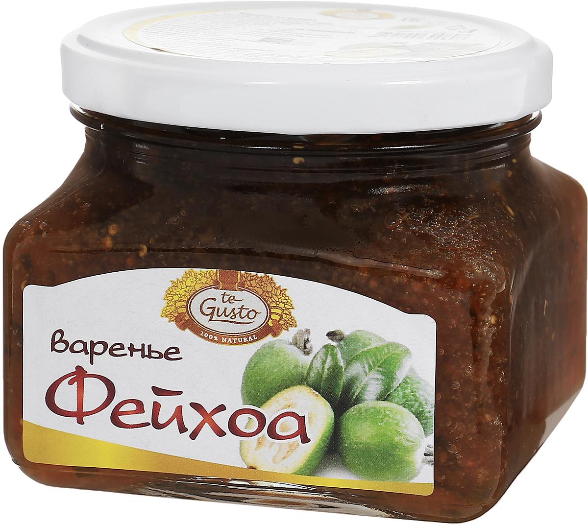 te Gusto Варенье из фейхоа, 430 г0120710Варенье te Gusto сварено из свежих ягод фейхоа, выращенных в Армении.Фейхоа - единственная ягода, содержание йода в которой не меньше, чем в морепродуктах. В кожуре плода содержатся биологически активные вещества: кахетин и лейкоантоцин, которые являются мощными антиоксидантами обладающие профилактическим действием на онкологические заболевания. Витамин С и ароматные эфирные масла фейхоа применяются при лечении простудных заболеваний, ОРЗ и гриппа, а также в качестве иммуномодулятора. Для лечения лучше употреблять плоды с теплым питьем в виде варенья. Плоды фейхоа врачи назначают людям с нарушениями работы щитовидной железы и при умственных нагрузках.