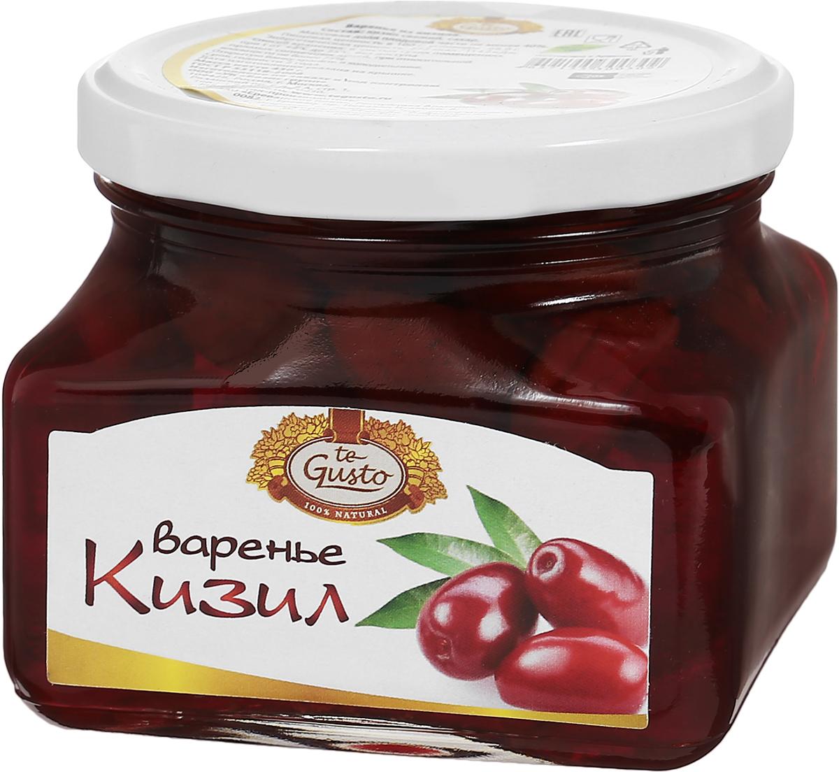 te Gusto Варенье из кизила, 430 г0120710Ягоды кизила имеют освежающий кисло-сладкий вкус, поскольку они очень богаты витамином С и многими органическими кислотами. Именно благодаря наличию аскорбиновой кислоты эти ягоды рекомендуются включать в рацион тех, кто страдает от простудных заболеваний, таких как ангина, грипп, бронхит, ОРВИ и многие другие. Витамин С также жизненно необходим нашему организму для поддержания функции иммунитета и усиления защиты организма от различных заболеваний. Для того, чтобы воспользоваться указанными выше полезными свойствами кизила, необходимо употреблять его в виде отвара или варенья из ягод. Кизил также полезен тем, кто страдает от различных недугов, связанных с плохим пищеварением. Это и несварение желудка, и плохой аппетит, и повышенная кислотность, и изжога. Кизил очень богат такими натуральными веществами, как фитонциды, которые известны своими антибактериальными и антиинфекционными свойствами. Поэтому ягоды кизила могут защитить от внутренних инфекций и заражений.Сварено с любовью по старинным рецептам. Ягоды выращены в экологически чистых районах.