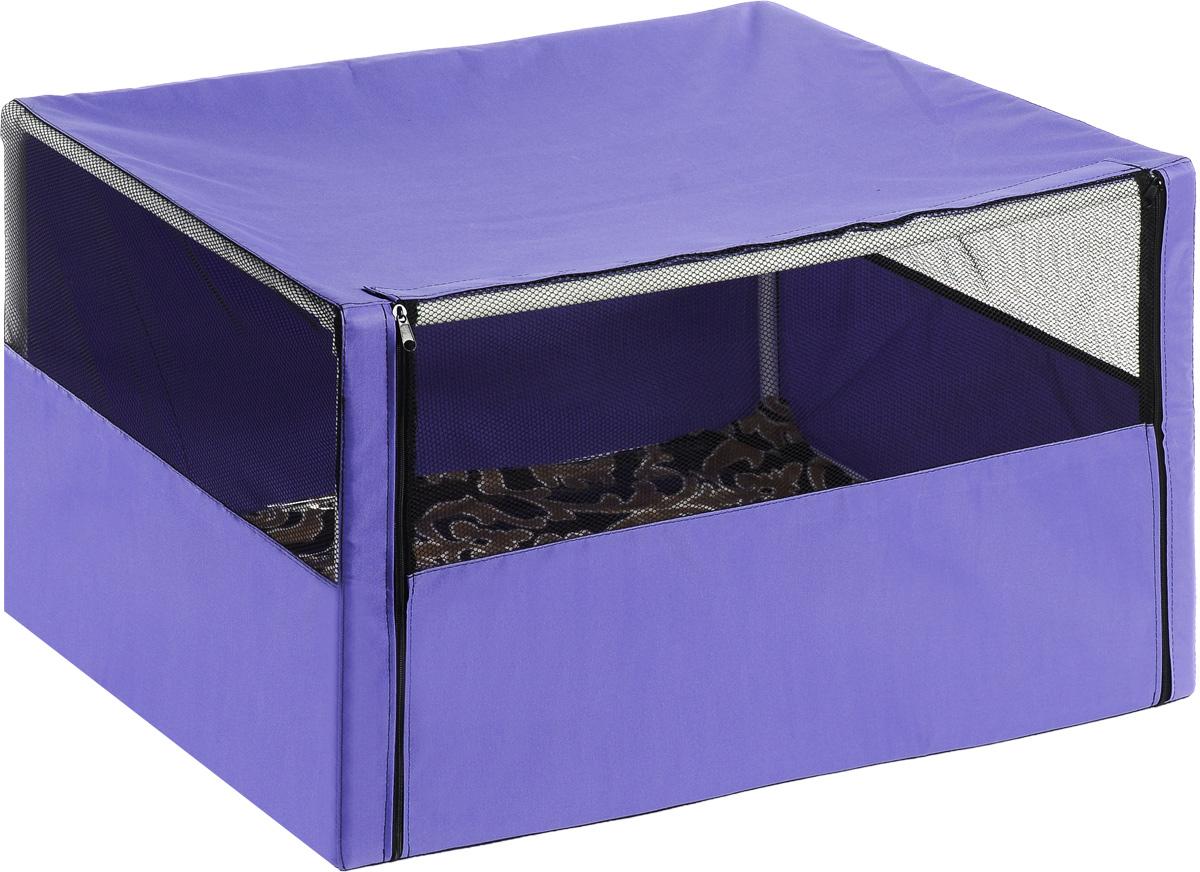 Клетка-вольер для животных Elite Valley, цвет: фиолетовый, черный, 90 х 70 х 70 см0120710Клетка-вольер Elite Valley, выполненная из текстиля, продумана таким образом, что может служить, как выставочная палатка для кошек и собак, а также применима для домашнего содержания животных. Клетка-вольер Elite Valley обладает многочисленными преимуществами: - вольер выполнен из высококачественной и очень прочной ткани; - вольер разборный, в комплект входит сборный каркас из труб с соединительными уголками; - в сложенном виде вольер довольно компактен, при хранении занимает мало места; - вольер хранится и переносится в чехле, который входит в комплект; - в комплект входит мягкая подстилка из микрофибры; - вольер довольно объемный, поэтому подойдет как для одной собаки или кошки, так и для нескольких собак или кошек; - три стороны палатки выполнены наполовину из сетки, что способствует свободной циркуляции воздуха.