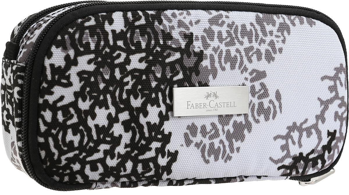 Faber-Castell Пенал цвет черный серый 191809ZTJ-CZ-STRIПенал Faber-Castell выполнен из прочного материала с водоотталкивающим покрытием Экстра Спейс и оформлен металлической вставкой с названием бренда.Пенал содержит два отделения для канцелярских принадлежностей, которые закрываются на застежки-молнии. Внутри одного отделения находятся два кармана - карман-сетка на молнии и карман на липучке, во втором отделении карманов нет.Пенал послужит отличным помощником во время занятий и позволит сохранить порядок на рабочем столе.