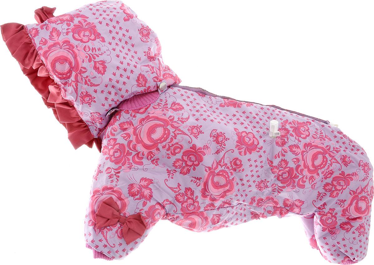 Комбинезон для собак Kuzer-Moda Мариска, утепелнный, для девочки, цвет: светло-сиреневый, розовый. Размер L0120710Утепленный комбинезон для собак Kuzer-Moda Мариска, украшенный однотонными рюшами и забавными бантиками на передних лапках и капюшоне, отлично подойдет для прогулок в холодное время года. Комбинезон изготовлен из плащевки с утеплителем из синтепона, который сохранит тепло даже в сильные морозы. Комбинезон с капюшоном застегивается на кнопки и липучки, благодаря чему его легко надевать и снимать. Капюшон пристегивается при помощи кнопок. Низ рукавов и брючин оснащен трикотажными манжетами, которые мягко обхватывают лапки, не позволяя просачиваться холодному воздуху. На пояснице комбинезон затягивается на шнурок-кулиску.Благодаря такому комбинезону простуда не грозит вашему питомцу. Длина по спинке 33 см.