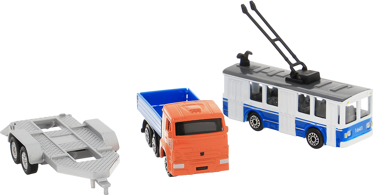 ТехноПарк Машинка КамАЗ с троллейбусом на прицепе технопарк набор машинок экскаватор и самосвал с прицепом