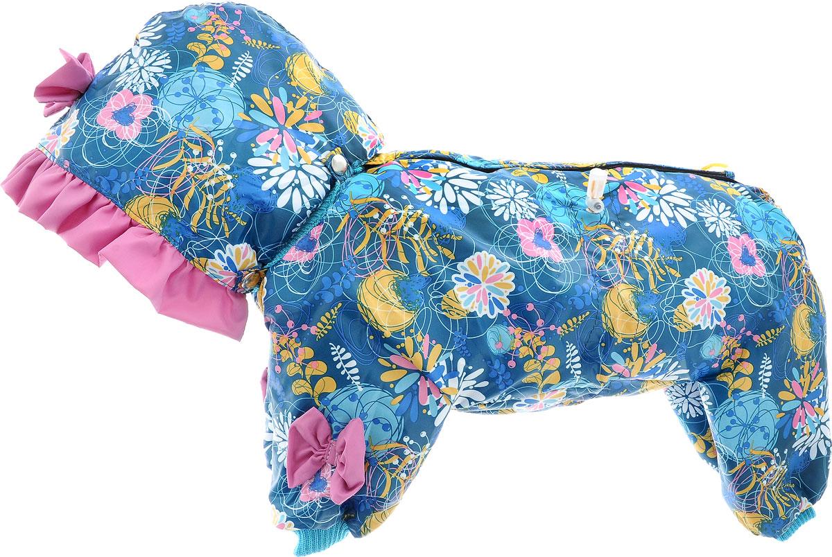 Комбинезон для собак Kuzer-Moda Мариска, утепленный, для девочки, цвет: темно-бирюзовый, розовый, желтый. Размер M12171996Утепленный комбинезон для собак Kuzer-Moda Мариска, украшенный однотонными рюшами и забавными бантиками на передних лапках и капюшоне, отлично подойдет для прогулок в холодное время года. Комбинезон изготовлен из плащевки с утеплителем из синтепона, который сохранит тепло даже в сильные морозы. Комбинезон с капюшоном застегивается на кнопки и липучки, благодаря чему его легко надевать и снимать. Капюшон пристегивается при помощи кнопок. Низ рукавов и брючин оснащен трикотажными манжетами, которые мягко обхватывают лапки, не позволяя просачиваться холодному воздуху. На пояснице комбинезон затягивается на шнурок-кулиску.Благодаря такому комбинезону простуда не грозит вашему питомцу.Длина по спинке 32 см.