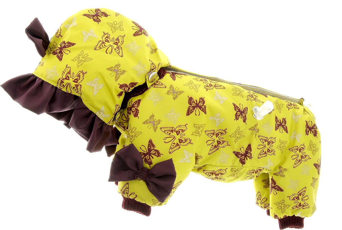 Комбинезон для собак Kuzer-Moda Мариска, утепленный, для девочки, цвет: бордово-коричневый, желтый. Размер XXS0120710Утепленный комбинезон для собак Kuzer-Moda Мариска, украшенный однотонными рюшами и забавными бантиками на передних лапках и капюшоне, отлично подойдет для прогулок в холодное время года. Комбинезон изготовлен из плащевки с утеплителем из синтепона, который сохранит тепло даже в сильные морозы. Комбинезон с капюшоном застегивается на кнопки и липучки, благодаря чему его легко надевать и снимать. Капюшон пристегивается при помощи кнопок. Низ рукавов и брючин оснащен трикотажными манжетами, которые мягко обхватывают лапки, не позволяя просачиваться холодному воздуху. На пояснице комбинезон затягивается на шнурок-кулиску.Благодаря такому комбинезону простуда не грозит вашему питомцу.Длина по спинке 25 см.