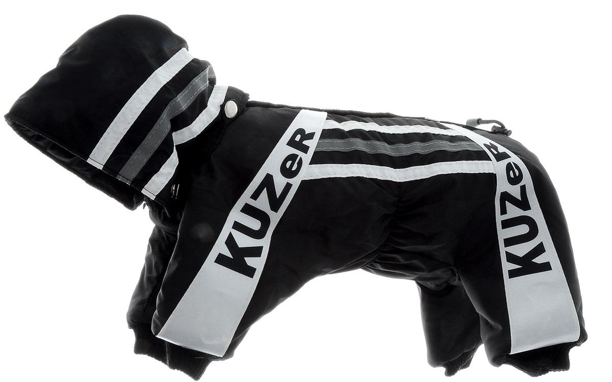 Комбинезон для собак Kuzer-Moda Игла, утепленный, для мальчика, цвет: черный, белый. Размер XSКф-1017Комбинезон для собак Kuzer-Moda  Игла отлично подойдет для прогулок в прохладную погоду.Комбинезон изготовлен из прочной, ткани, которая сохранит тепло и обеспечит отличный воздухообмен. Комбинезон с капюшоном застегивается на кнопки, благодаря чему его легко надевать и снимать. Капюшон пристегивается при помощи кнопок. Ворот, низ рукавов и брючин оснащены трикотажными резинками, которые мягко обхватывают шею и лапки, не позволяя просачиваться холодному воздуху. Изделие снабжено светоотражающей лентой. На пояснице имеются затягивающиеся шнурки, которые также не позволяют проникнуть холодному воздуху.Благодаря такому комбинезону простуда не грозит вашему питомцу, и он не даст любимцу продрогнуть на прогулке. Длина по спинке 27 см.