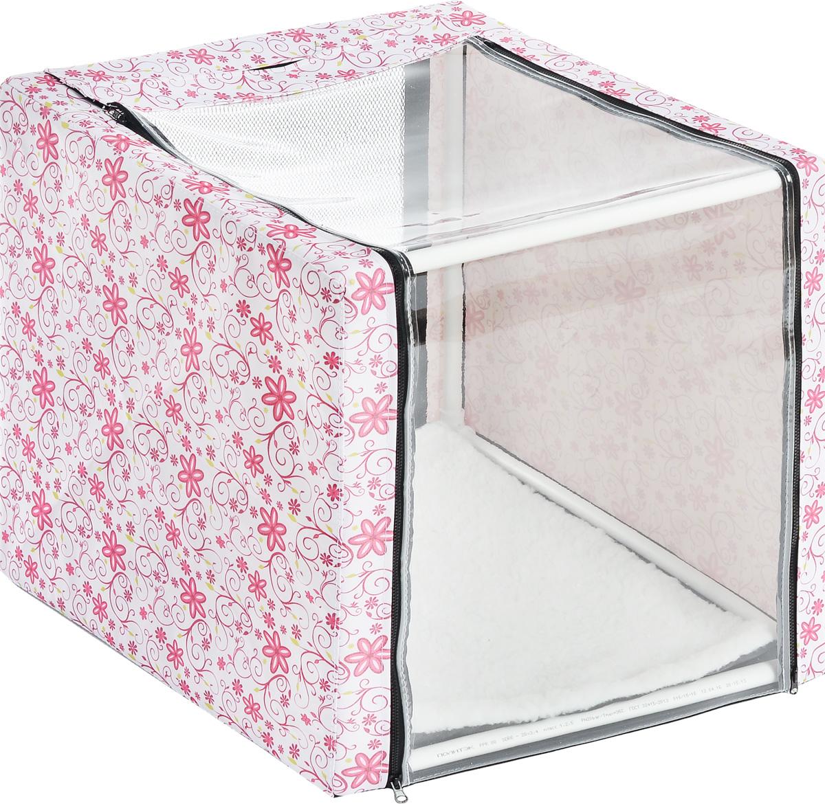 Клетка для животных Elite Valley, выставочная, цвет: белый, розовый, зеленый, 56 х 56 х 56 см0120710Клетка Elite Valley предназначена для показа кошек и собак на выставках. Она выполнена из плотного текстиля, каркас - пластиковые трубки. Клетка оснащена пленкой и сеткой. Внутри имеется мягкая подстилка, выполненная из искусственного меха. Боковые стенки закрываются на замки-молнии. Палатка быстро собирается и разбирается.В комплекте сумка-чехол для удобной транспортировки.