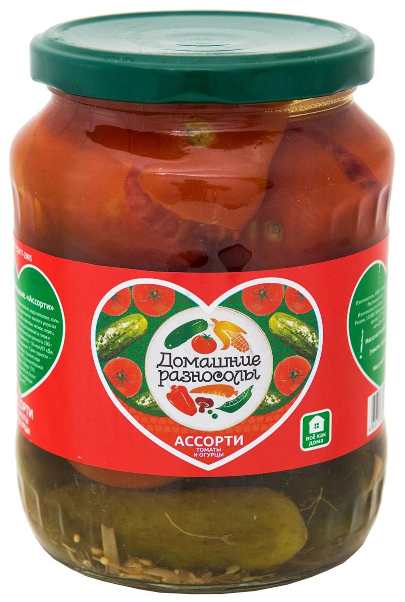 Домашние разносолы ассорти томаты и огурцы, 720 мл0120710Ликопин, который содержится в помидорах, продлевает молодость и красоту на долгие годы. Этот достаточно сильный антиоксидант, который имеет способность справляться с разными болезнями. Например, регулярное употребление маринованных помидоров снижает риск возникновения различных заболеваний сердца.Калорийность маринованных огурцов невероятно мала, поэтому они представляют собой неплохой вариант для диетического питания. Кроме того, наблюдается положительный эффект и со стороны пищеварительного тракта – маринованные огурцы способны возбуждать аппетит и усиливать пищеварение.