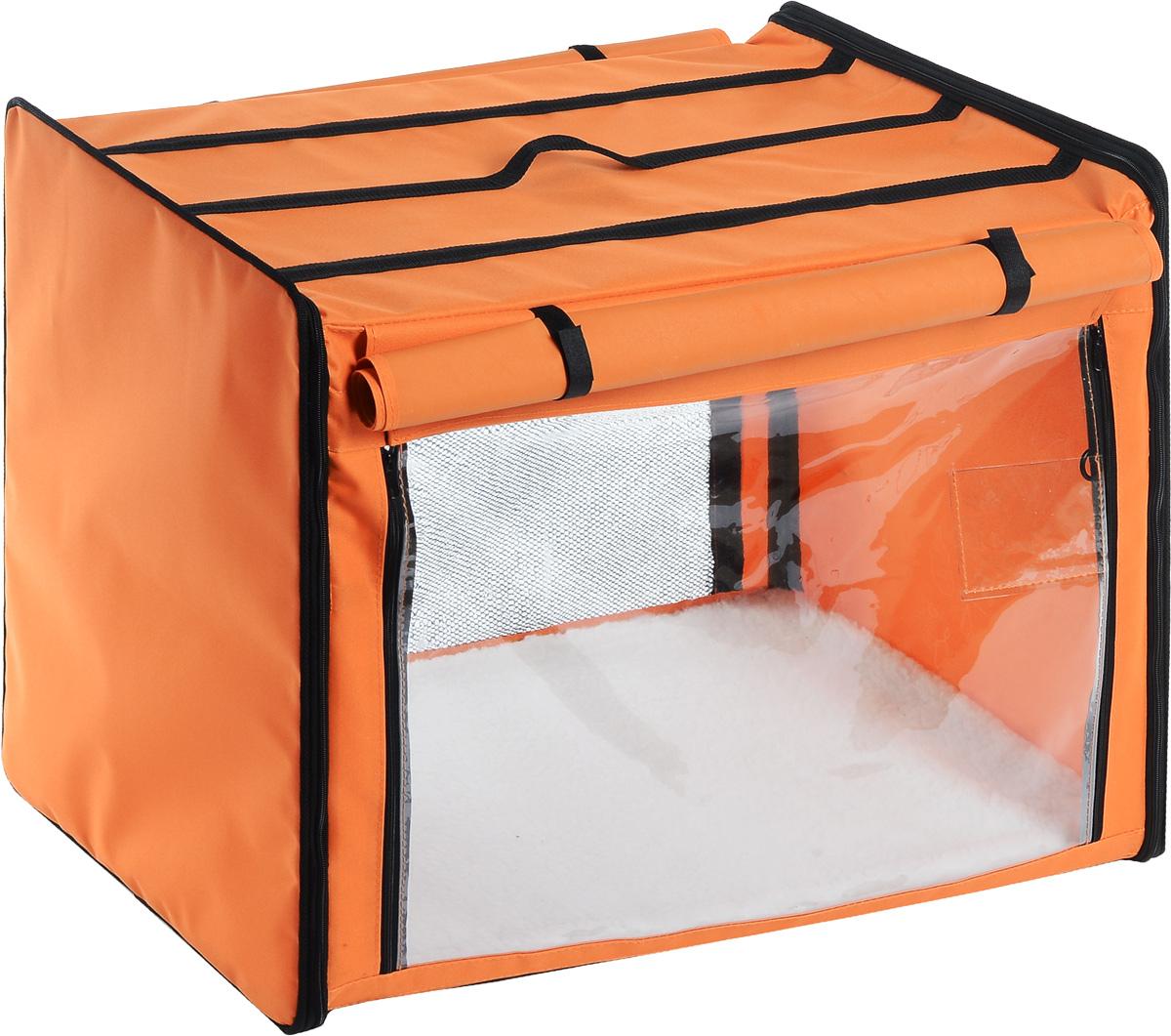 Клетка выставочная Elite Valley, цвет: оранжевый, черный, 75 х 52 х 62 см. К-10120710Клетка Elite Valley предназначена для показа кошек и собак на выставках. Она выполнена из плотного текстиля, каркас - металлический. Клетка оснащена съемными пленкой и сеткой. Внутри имеется мягкая подстилка, выполненная из искусственного меха. Прозрачную пленку можно прикрыть шторкой. Сверху расположена ручка для переноски.В комплекте сумка-чехол для удобной транспортировки.